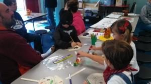 Batman and the train crew enjoy arts and crafts