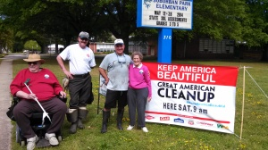 Suburban Acres Civic League volunteers at KNB Day/Great American Cleanup base camp
