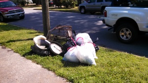 Some of the trash removed from Lafayette River headwaters by Suburban Acres Civic League volunteers